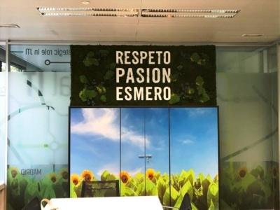 Mural plantas artificiales con eslogan en oficina
